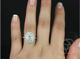 oval engagement ring with halo rosados box cara original white gold oval f1 moissanite and