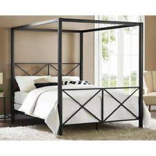 metal canopy bed size queen black modern 4 four poster frame