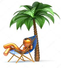 chilling man character palm tree relaxing beach deck chair u2014 stock