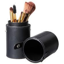 traveling makeup artist black leather brush empty holder makeup artist bag match your own