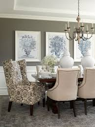 Dining Room Walls In Deep Gray Provide Background For A Grouping - Dining room walls