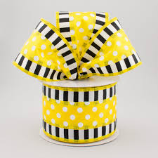 black and yellow ribbon 2 5 striped edge polka dot ribbon yellow black white 10