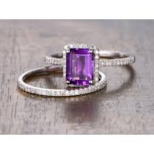Amethyst Wedding Rings by Emerald Cut Amethyst Wedding Ring Set White Gold Stackable Diamond