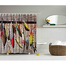 Fishing Shower Curtains Fishing Shower Curtain Lake House Decor By Ambesonne
