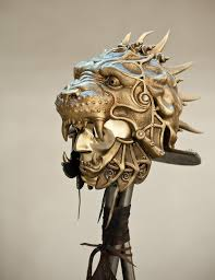 metal lion sculpture mask helmet gladiator helmet predator helmet lion sculpture