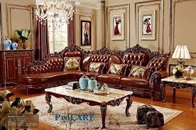 Red Solid Wood Genuine Leather Corner Sofa Set  L Shape Sofa Set - Sofa set in living room