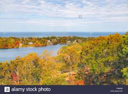 birds eye view scargo lake and cape cod bay with fall foliage seen