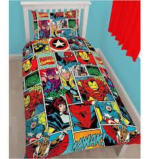 Single Duvet And Pillow Set Marvel Comic Strikes Hero Children Single Reversible Rotary Duvet