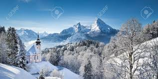 panoramic view of beautiful winter landscape in the bavarian