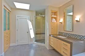 Bathroom Closet Door Master Bathroom With Vanity Shower Storage Skylight Master