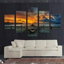 5 piece canvas wall art seaview painting for living room wall art