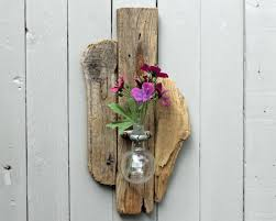 Driftwood Wall Sconce Driftwood Wall Sconce Vase With Upcycled Chemistry Glass Bottle