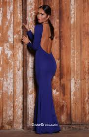 blue long sleeve trumpet floor length long prom dress jewel