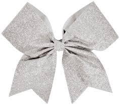 silver glitter ribbon chassé glitter performance hair bow omni cheer