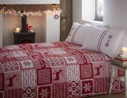 Christmas Duvet Covers Uk Stag Snowflake Christmas Duvet Quilt Cover Bedding Set Ebay