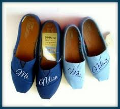 wedding shoes toms and groom painted authentic toms his and hers mr and