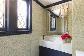 Powder Room Sink Blue Powder Room With Blue Skirted Sink Transitional Bathroom