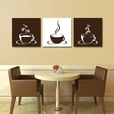 kitchen art design set of three 3 gallery wrapped canvases coffee cup design