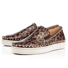 christian louboutin brown pik boat python leopard roller spike