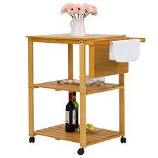 kitchen work island shop for kinbor 3 tire wood kitchen utility cart work island