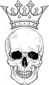 sketch of a skull with crown for line vector