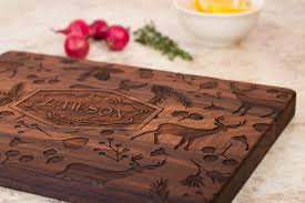 personalized engraved cutting board woodland personalized cutting board smiling tree