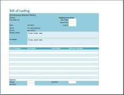 Bill Of Lading Template Excel Bill Of Lading Template Word Excel Templates