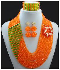 orange beads necklace images Fashion orange nigerian crystal beads necklace bracelet earrings jpg