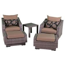 5 Piece Wicker Patio Set Rst Brands Cannes 5 Piece Wicker Patio Chat Set With Bliss Blue