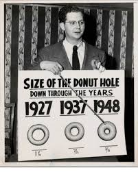 Donut Memes - size of the donut hole down through the years 1927 1937 1948 o o