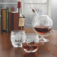 unique barware etched globe whiskey decanter glass set wine enthusiast