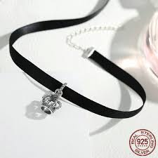 cute choker necklace images Women 39 s cute black choker necklace with a beautiful crown silver jpg