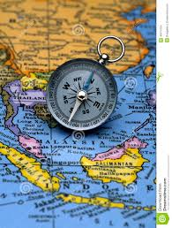 Southeastern Asia Map by Antique Compass On Map South East Asian Region Stock Photo