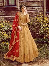 golden lenghas buying online germany gold color art silk indian
