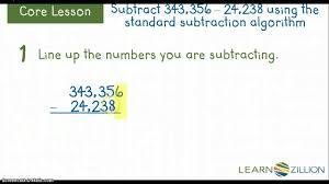 subtracting using the standard sub algorithm m 4 nbt 4 e youtube