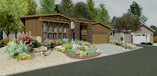 red brick ranch house river rock landscaping ideas replacing mulch