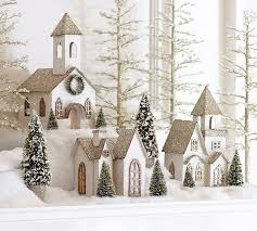 Pottery Barn Christmas Decorations Sale lit german glitter village houses benefiting give a little hope