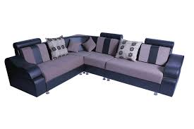 Sofa Set L Shape Black And Cream L Shaped Corner Sofa Set With Cushion