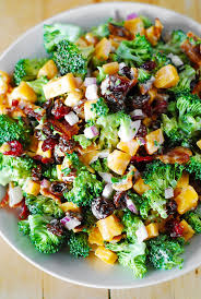 broccoli salad with bacon raisins and cheddar cheese