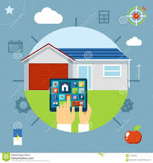 smart house concept controlled from a tablet stock vector image
