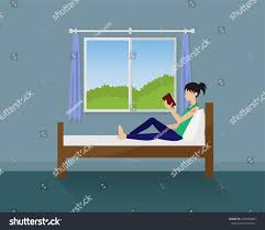 woman lying on bed reading book stock vector 429943885 shutterstock