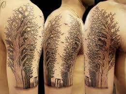 grey ink half sleeve tree ink quarter