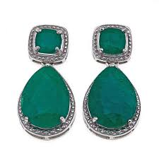 emerald drop earrings colleen emerald city color enhanced emerald sterling