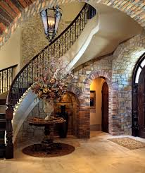 appealing family room interior design with stone wall cladding