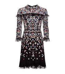 black posy floral embroidered dress for women needle u0026 thread
