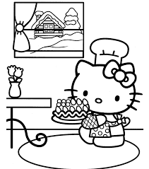 kitty coloring pages birthday cake birthday coloring pages