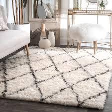 Shag Carpet Area Rugs Nuloom Handmade Moroccan Trellis Wool Shag Area Rug 4 X 6