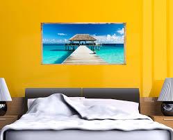 stickers trompe oeil mural trompe l u0027oeil tableau le ponton eau turquoise