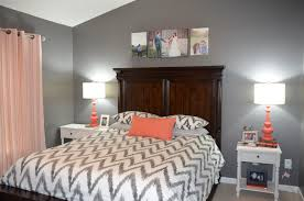 Navy White And Coral Bedroom Jessica Stout Design Coral Gray Master Bedroom My Home