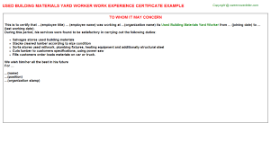 construction company yard worker work experience letters